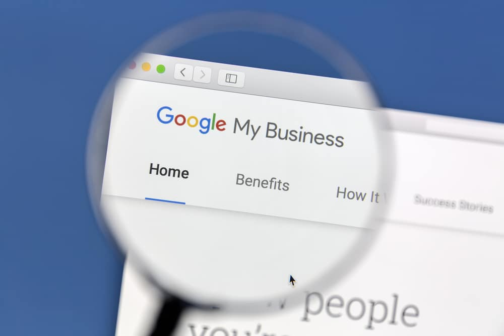 magnifying glass looking at a google my business listing